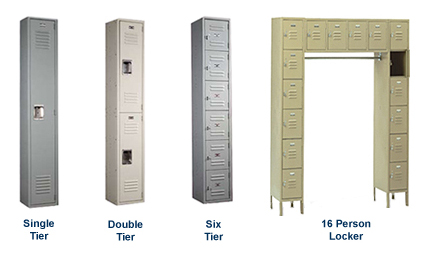 Single, double and six-tier Keystone Lockers shown. Also available are five-tier and 16-person models.